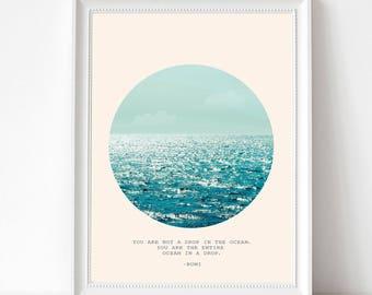 Ocean Wall Art Print, Sea Poster, Large Poster, Minimal, Blue Waves, Rumi Quote, Ocean, Sun & Sea, Drop In The Ocean Quote, Light Blue