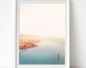 Summer Beach Art Print, Sea Waves Photo, Large Poster, Modern Minimal, Sand and Wave, Beach Coastal Decor, Ocean, Beach Art Photo, Summer,