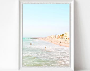 Summer Beach Print, Sea Waves Photo, Large Poster, Modern Minimal, Sand and Wave, Beach Coastal Decor, Ocean, Beach Art Photo, Summer