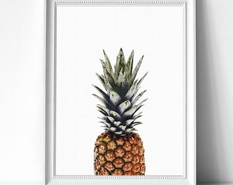 Pineapple Print, Tropical Fruit Wall Art, Kitchen Decor, Digital Download, Natural Color, Modern Minimalist, Printable Large Poster,