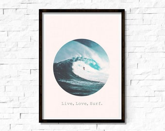 Surfing Wall Art, Surfer Print, Large Poster, Minimal, Waves, Ocean, Sun & Sea, Live Love Surf Quote, Light Blue Color, Surfer Poster