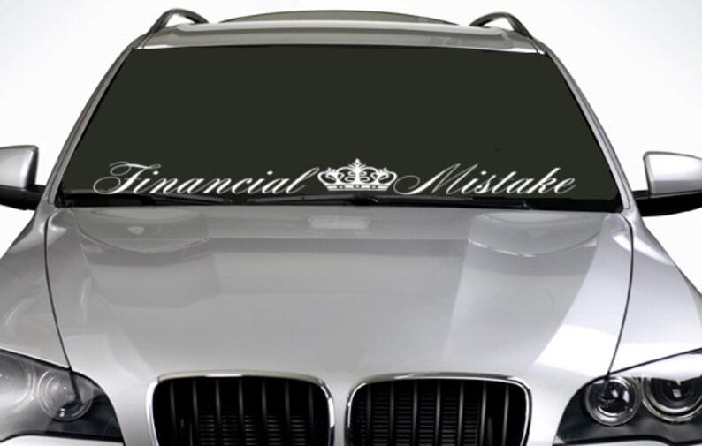 90cm Financial Mistake Crown ANY COLOUR Windscreen Sticker euro JDM Drift  Car Vinyl Decal