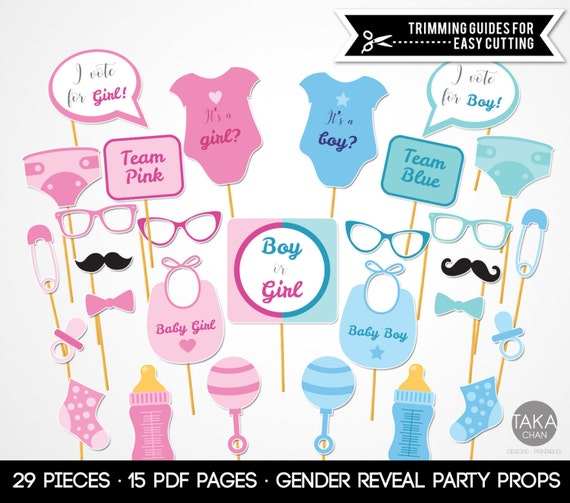 Gender Reveal Photo Booth Props Gender Reveal Gender Reveal Etsy