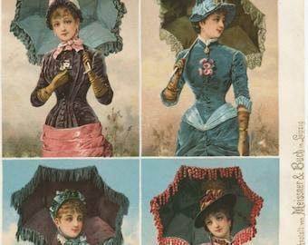 4 Victorian Ladies with Umbrellas