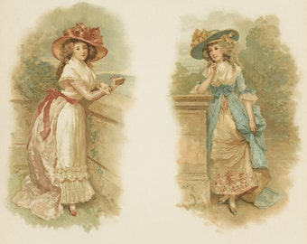 Two Victorian Ladies, Early 1880s Litho