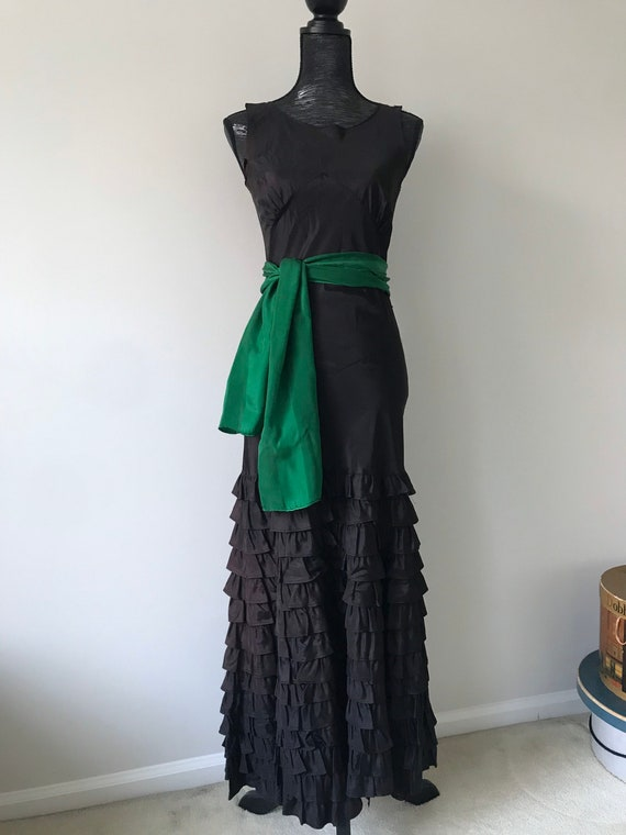 As-is 1930s Bias Cut Ruffle Gown, Old Repairs, Bea