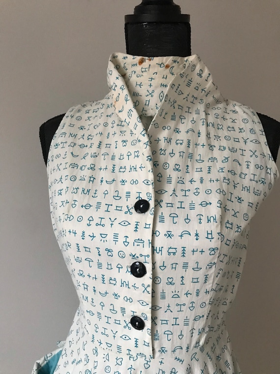 1950s Hieroglyphics Day Dress, Emoji Full Circle S