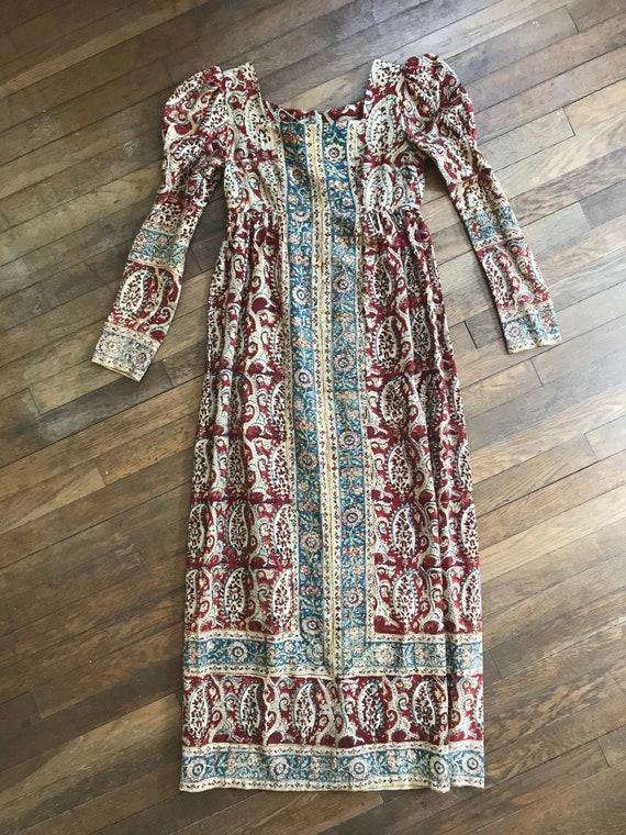 Georgian Style Paisley Linen Day Gown, bohemian em