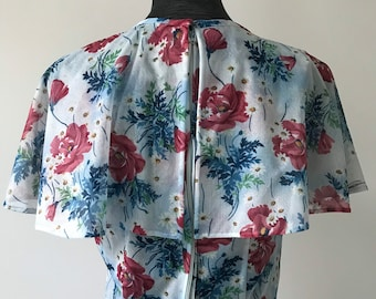 70s does 30s Sheer Blue Floral and Rose Print Gown