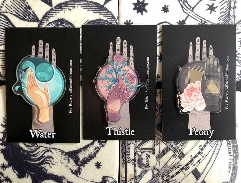 Palmistry pin badges with plants choice of three designs: image 0