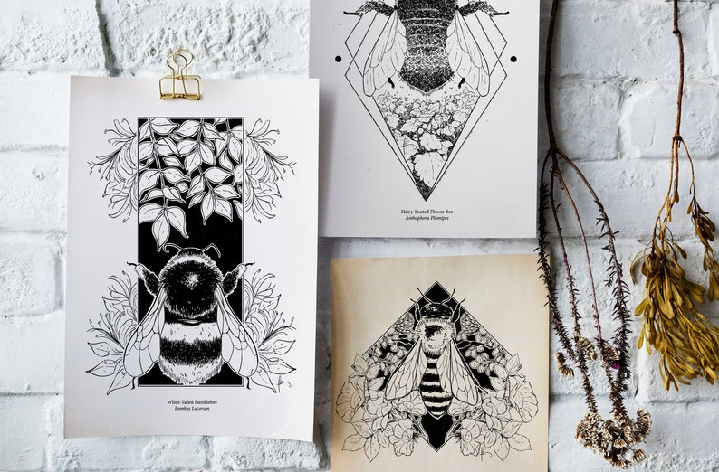 Five bee art prints A5 or square Gesso bumblebee honey bee image 0