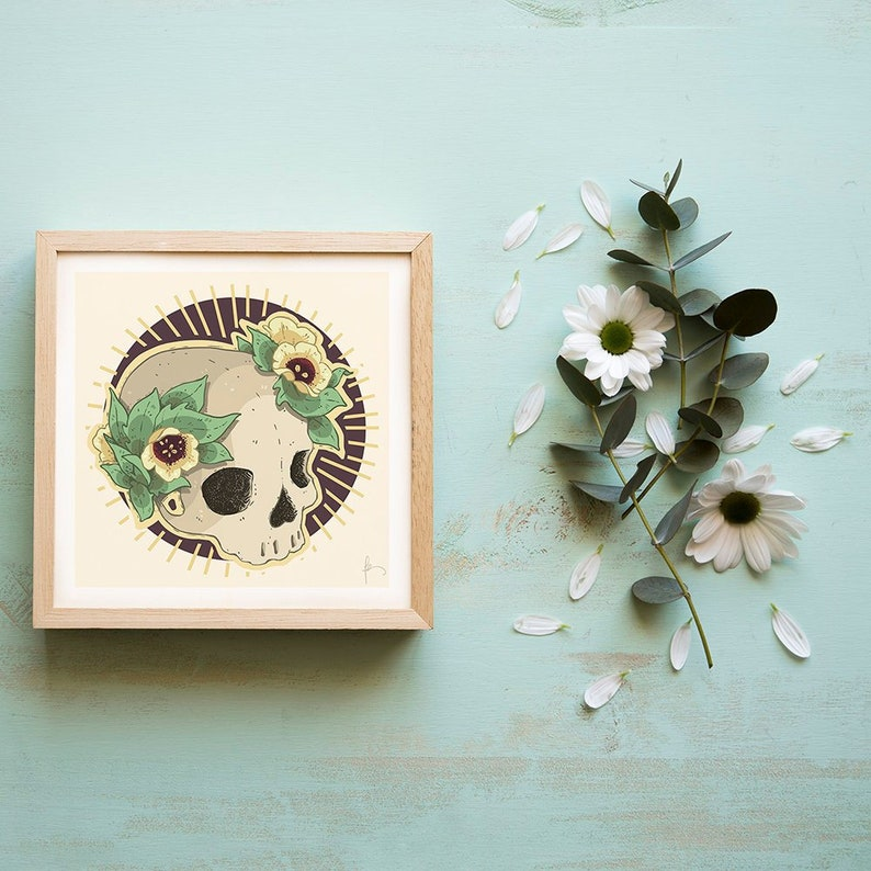 Square Skull art print with henbane flower crown on textured image 0