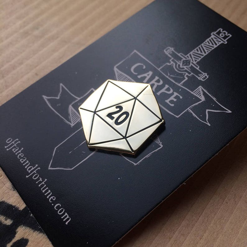 D20 Enamel Pin Limited Edition Gold image 0