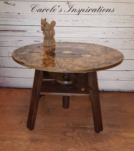 Fractal Burnt Coffee Table With Cork Screw Base Etsy