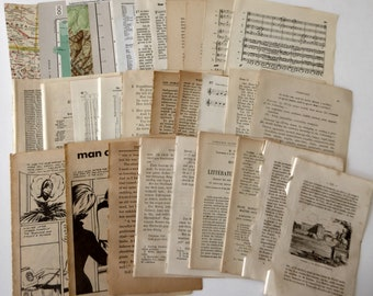 30 pages vintage paper pack, small book pages