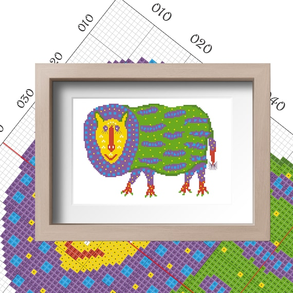 Animal cross stitch Colourful pattern digital download PDF Modern counted  cross stitch DIY gift Funny wall art abstract pattern Funn xstitch