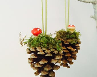 pinecone toadstool decorations natural christmas rustic ornaments