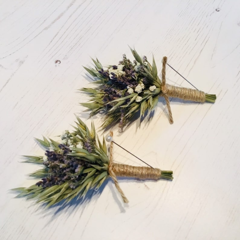 ButtonholeBoutonniere of dried flowers groom limonium Gypsophila /& oats wedding lavender