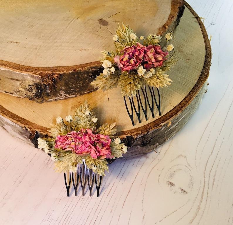 Wedding Gypsophila /& Phalaris White Larkspur Dried flower hair comb