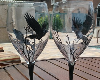 hand painted wine glasses / glass black Crows Raven gift for friend birthday gift custom wine glasses mystic magic handpainted creepy funny
