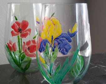 flowers Stemless hand painted wine glasses set of 2 / birthday friend gift / custom wine glasses / drinking glasses /  Glass painting
