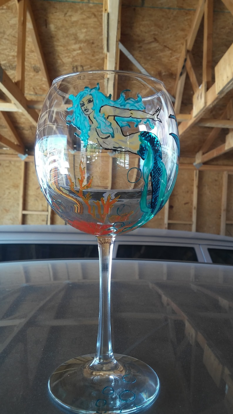 07f68d805fe Mermaid Hand painted wine glass 18 oz/ vacation gift / custom   Etsy