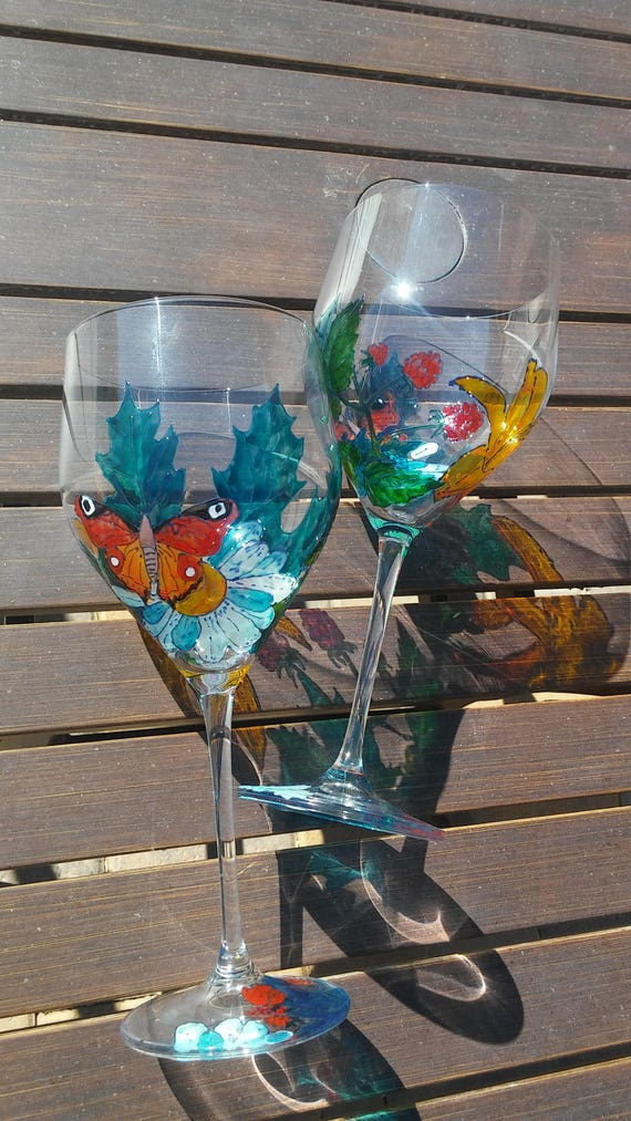 Personalised And Hand Painted Beautiful Butterflies Wine Glass Glass