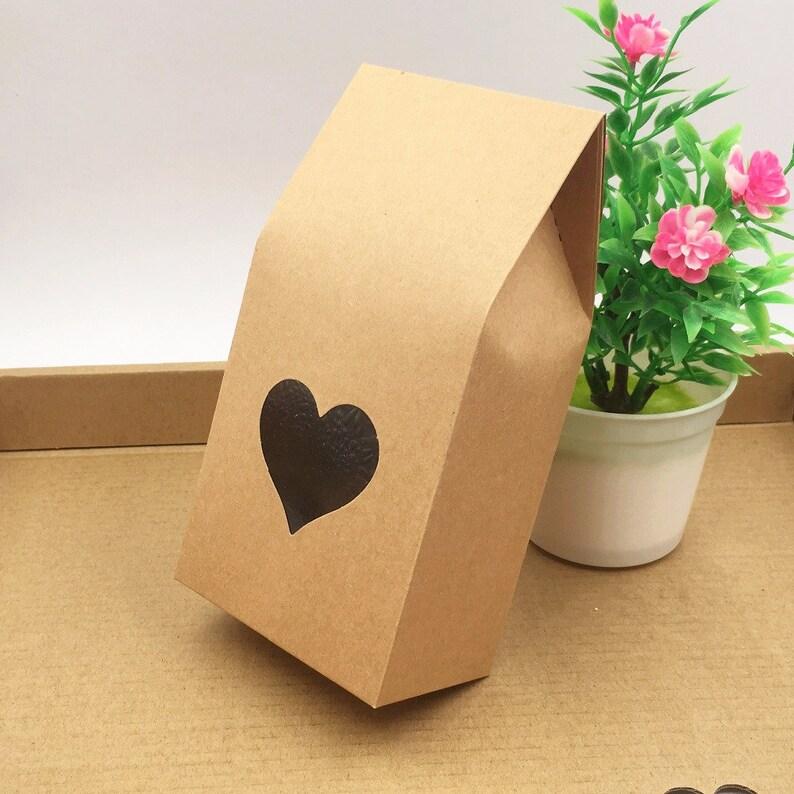 50pcs 8*16*5cm Kraft paper gift Bags packaging Foot bags food window transparent pvc stamp boxes