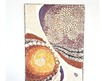 Handmade seashells Baltic Amber mosaic picture, Abstract picture, wall ornament, 3D picture, beach wall decor, Bohemian home style,Boho wall