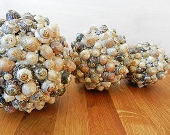 Table decoration, Center peace, ornament, Shell beach art, home decor, Handmade Scottish Sea Shell, 3 Decoration Balls, Ornaments, Figures