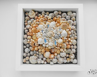 Handmade Seashells 3D Mosaic Picture with semi precious stones,Mosaic art,Stand or hanging wall art,Wall mosaic picture,Beach art,Home decor