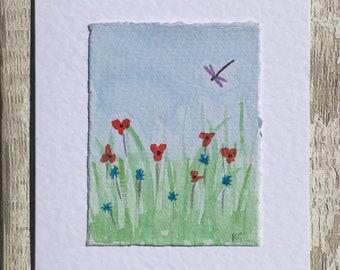 Hand painted watercolour of meadow greetings card, watercolour card, hand made greetings card, dragonfly card, blank greetings card