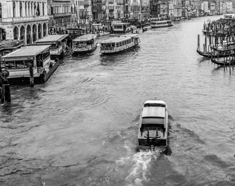 Busy Grand Canal-Venice Italy-Black and White Photograph-Digital Download Printable File-Print it your way and save!