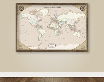 Rustic world map push pin map on canvas world travel map large travel gifts for couples travel map canvas push pin map large travel map of the world map framed push pin map with frame travel poster him gumiabroncs Image collections