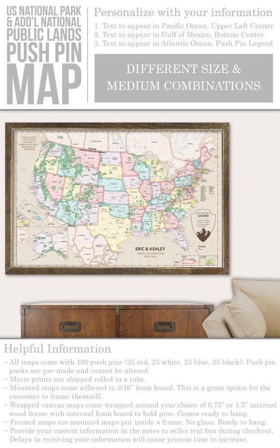 Customize Us Map.Framed Push Pin Map Custom Push Pin United States Map Rv Maps Etsy