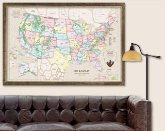 Push Pin Map USA Push Pin Travel Map USA Travel Map Push Pin USA Travel Gift for Wedding Travel Gift for Husband Travel Gift for Wife Map
