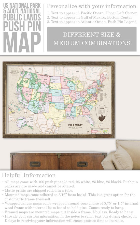 Us Map Picture Frame.Pushpin Map Frame Pushpin Usa Map Poster Us Travel Map Push Etsy