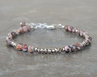 Dainty Bracelet - Minimalist Bracelet - Delicate Bracelet - Simple Bracelet - Everyday Bracelet - Jasper Bracelet - Gift for Her Under 20