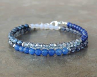 Lapis Lazuli Bracelet - Lapis Lazuli Jewelry - Stone Bracelet - Blue Bracelet for Women - Boho Bracelet - Wrap Bracelet- Denim Bracelet Gift