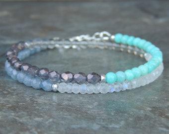 Bohemian Jewelry Gift for Her - Beaded Bracelet - Gemstone Bracelet - Wrap Bracelet - Blue Boho Bracelet for Women - Moonstone Bracelet