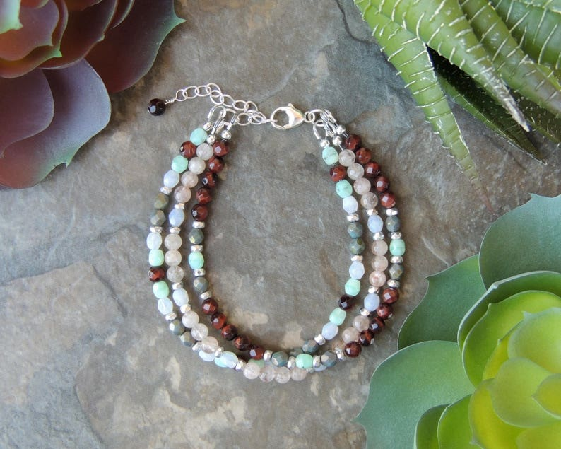Red Tigers Eye and Sunstone Layered Bracelet Boho Bracelet Ideas Rustic Boho Bracelet for Her Multistrand Gemstone Bracelet for Women
