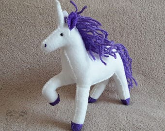 White Unicorn Felt Plush - Handmade, Gift, Sculpture, Figure, Purple Mane, Animal, Mythical Creature