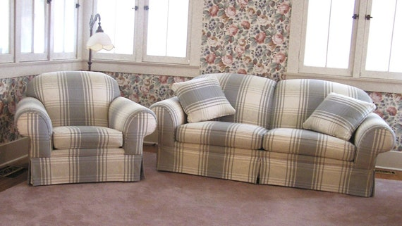 Outstanding Matching Sofa Chair Set Plaid Colors Dusky Blue Off White Pale Beige Very Comfortable Cozy Furniture Andrewgaddart Wooden Chair Designs For Living Room Andrewgaddartcom