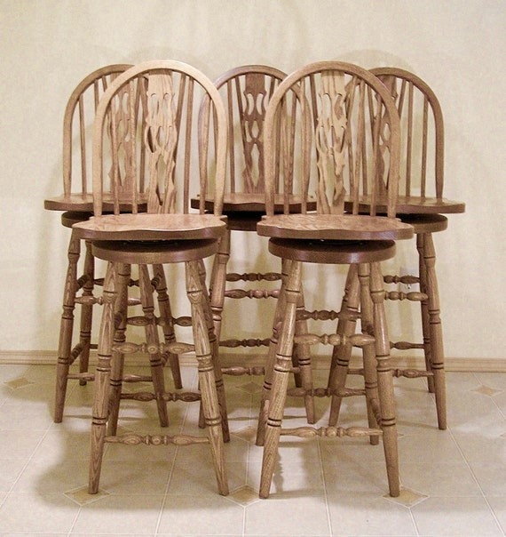 Super Five 5 Amish Made Oak Swivel Bar Stools Chairs Bent Wood Braced Slotted Fiddle Back Design Turned Legs Stretchers Bargain Price Lamtechconsult Wood Chair Design Ideas Lamtechconsultcom