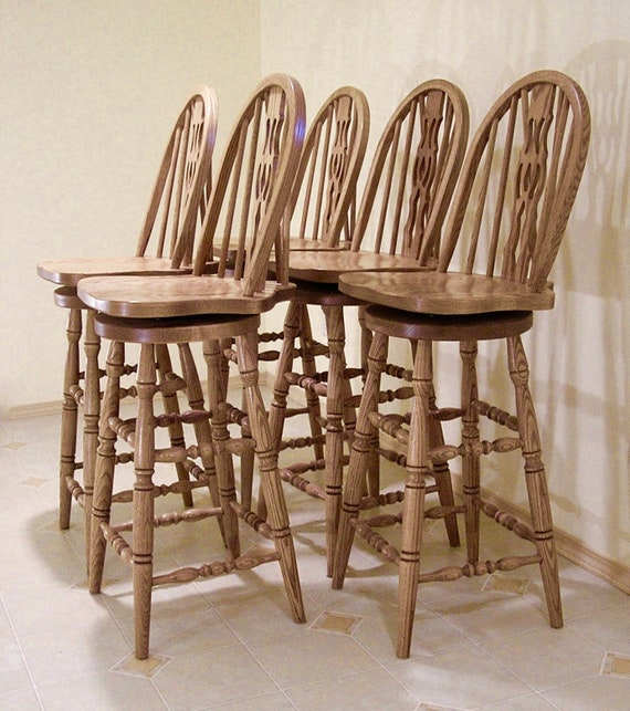 Marvelous Five 5 Amish Made Oak Swivel Bar Stools Chairs Bent Wood Braced Slotted Fiddle Back Design Turned Legs Stretchers Bargain Price Alphanode Cool Chair Designs And Ideas Alphanodeonline