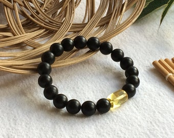 Bracelet from amber, series Black amber, insert lemon. Baltic amber jewelry, Natural jewelry, Gifts for Women, Gifts for Men.