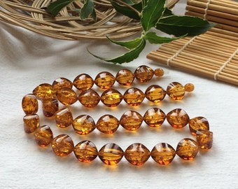 Necklace from Baltic amber, color is tea with sparks of the sun inside. Baltic amber jewelry, Natural jewelry, Gifts for Women.