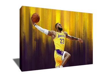 665c2ae2c00 FREE SHIPPING King of LA Lebron James Poster Painting Artwork on Canvas  Wall Art