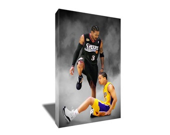 a6a2f119c9092 FREE SHIPPING Allen Iverson Step Over Lue Canvas Art