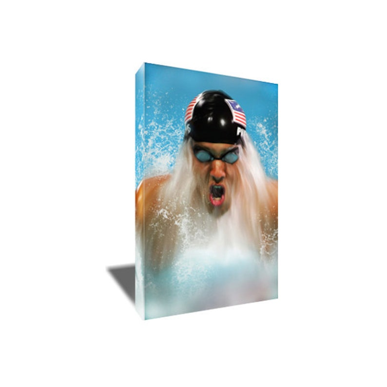 Free Shipping Michael Phelps Most Decorated Olympian Canvas Art